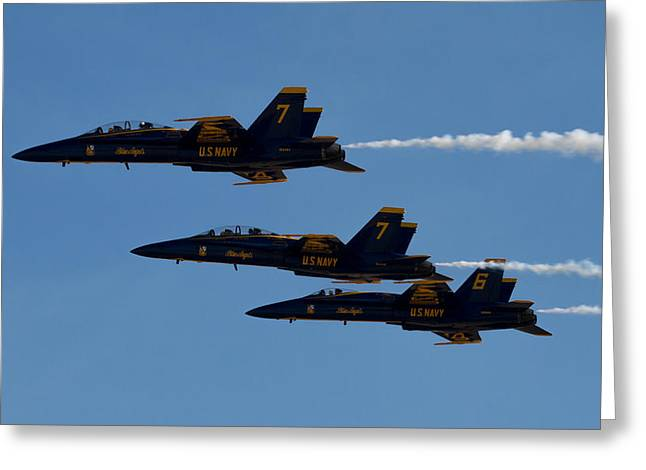Airshow Flight Greeting Cards - 7 And 7 Greeting Card by John Daly