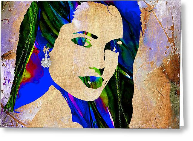 Hollywood Greeting Cards - Angelina Jolie Collection Greeting Card by Marvin Blaine