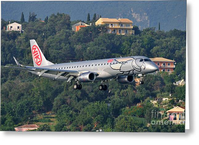 House Greeting Cards - Approaching Corfu airport Greeting Card by George Atsametakis