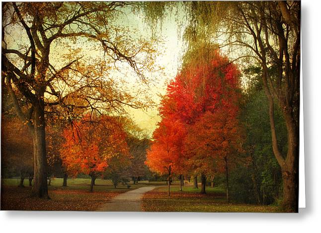 Walkway Digital Greeting Cards - Autumn Promenade Greeting Card by Jessica Jenney