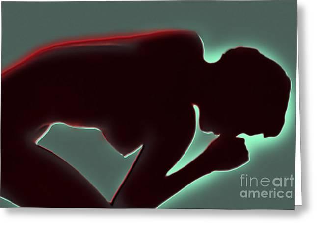 Female Body Greeting Cards - Back Pain Greeting Card by Dennis Potokar