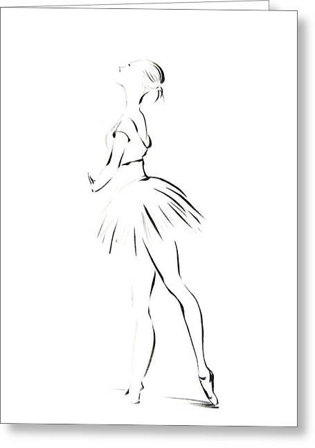 Recently Sold -  - Ballet Dancers Drawings Greeting Cards - Ballerina Greeting Card by Sophia Rodionov