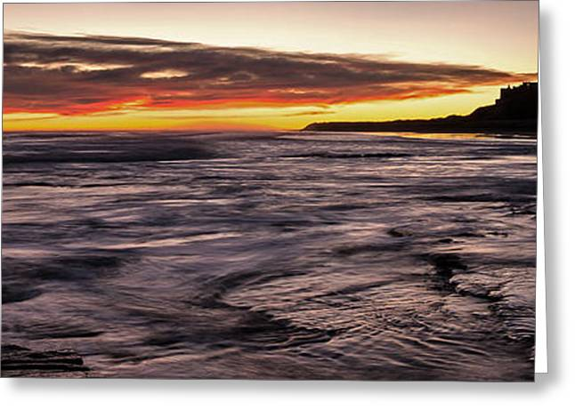 Sand Castles Greeting Cards - Bamburgh Castle at Sunrise Greeting Card by David Pringle