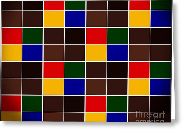Tiled Tapestries - Textiles Greeting Cards - Tiled Color Blocks with Brown and Black Greeting Card by Barbara Griffin