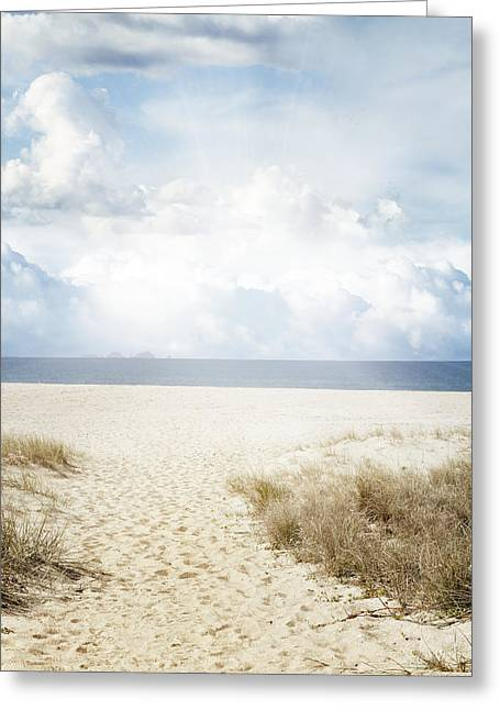 Footpath Greeting Cards - Beach trail Greeting Card by Les Cunliffe