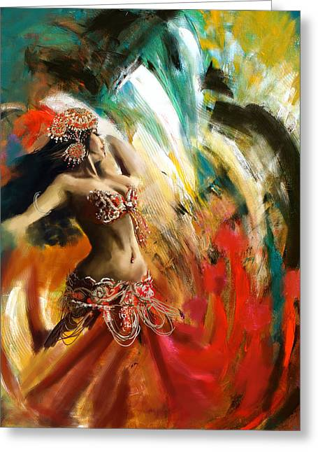 Belly Greeting Cards - Abstract Belly Dancer 19 Greeting Card by Corporate Art Task Force