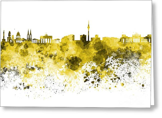 Berlin Germany Paintings Greeting Cards - Berlin skyline in watercolor on white background Greeting Card by Pablo Romero