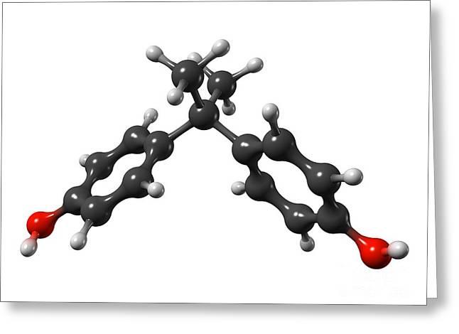 Leach Greeting Cards - Bisphenol A Organic Pollutant Molecule Greeting Card by Dr. Mark J. Winter