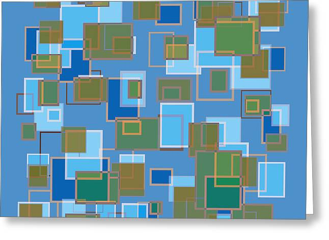 Huge Abstract Art Greeting Cards - Blue Abstract Greeting Card by Frank Tschakert