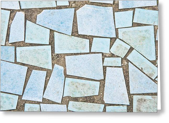 Irregular Greeting Cards - Blue tiles Greeting Card by Tom Gowanlock