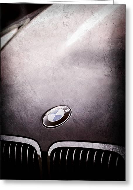 Bmw Emblem Greeting Cards - BMW Hood Emblem Greeting Card by Jill Reger