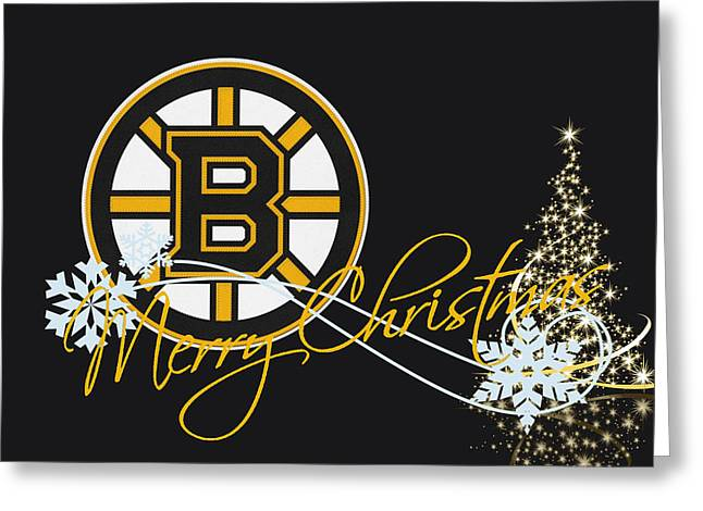 Present Greeting Cards - Boston Bruins Greeting Card by Joe Hamilton