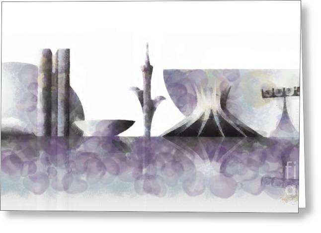 Champs Mixed Media Greeting Cards - Brasilia skyline Greeting Card by Michal Boubin
