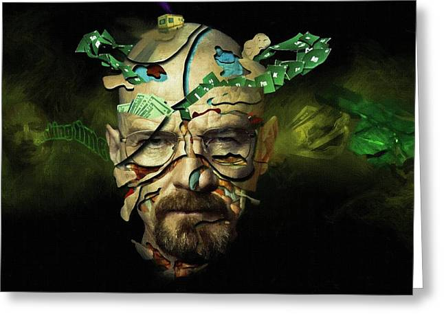 Bad News Greeting Cards - Breaking Bad Art Poster Greeting Card by Victor Gladkiy