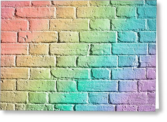 Blue Brick Greeting Cards - Brick wall Greeting Card by Tom Gowanlock