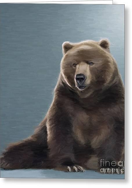 Kodiak Digital Art Greeting Cards - Brown Bear Greeting Card by Aleksey Tugolukov