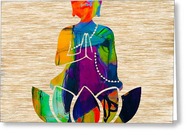 Meditation Greeting Cards - Buddah On A Lotus Greeting Card by Marvin Blaine