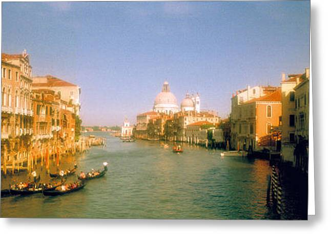 Wooden Building Greeting Cards - Buildings Along A Canal, Grand Canal Greeting Card by Panoramic Images