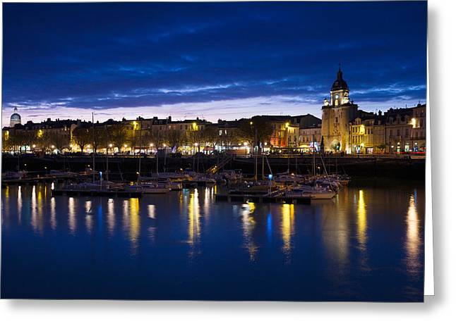 Old Port Greeting Cards - Buildings At The Waterfront Lit Greeting Card by Panoramic Images