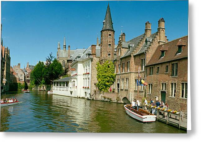 Water Vessels Greeting Cards - Buildings At The Waterfront Greeting Card by Panoramic Images