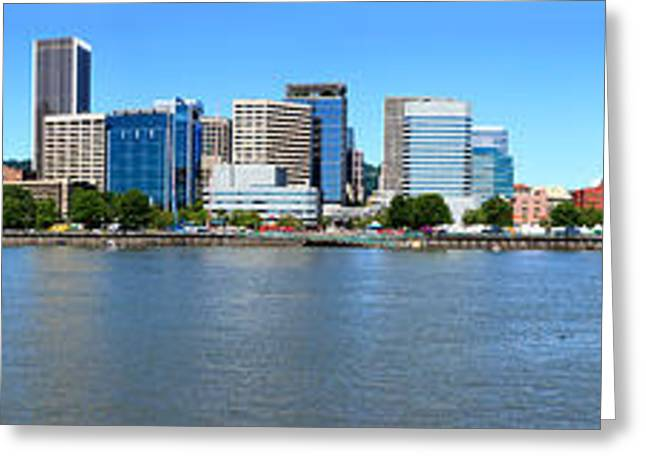 Rose Tower Greeting Cards - Buildings At The Waterfront, Portland Greeting Card by Panoramic Images