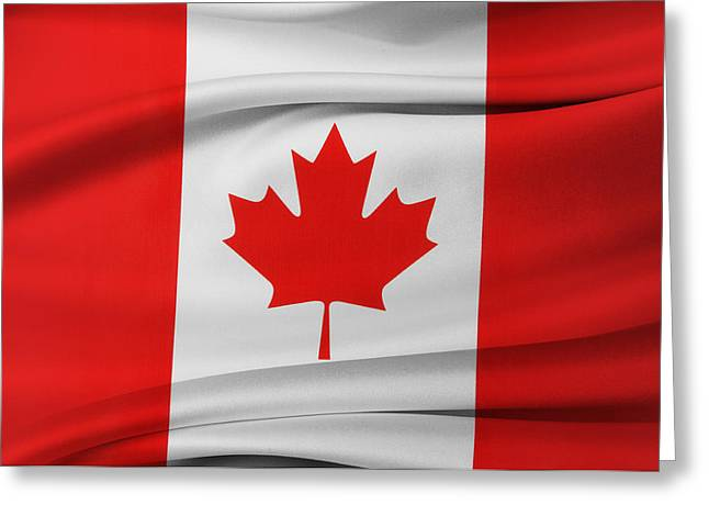 Textile Photographs Greeting Cards - Canadian flag Greeting Card by Les Cunliffe