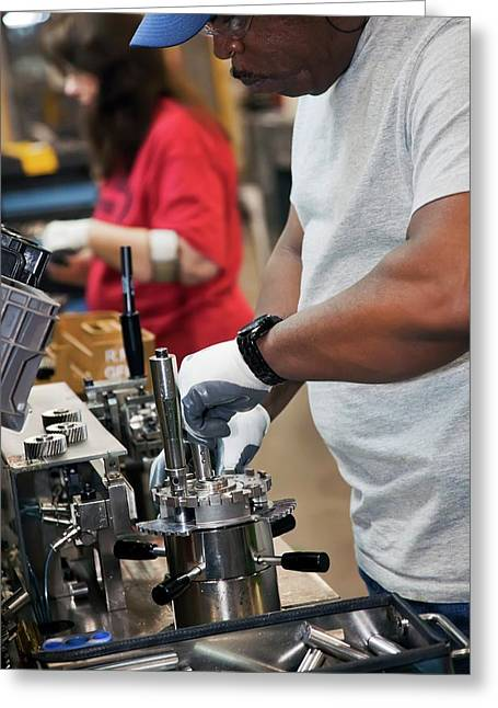 Car Transmission Assembly Line Greeting Card by Jim West