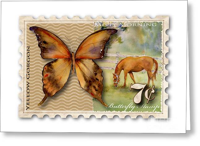 7 Cent Butterfly Stamp Greeting Card by Amy Kirkpatrick