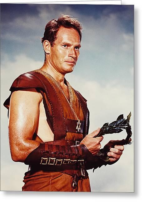 Hunk Greeting Cards - Charlton Heston in Ben-Hur  Greeting Card by Silver Screen
