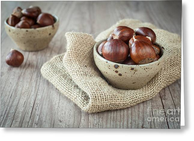 Wooden Bowl Greeting Cards - Chestnuts Greeting Card by Sabino Parente