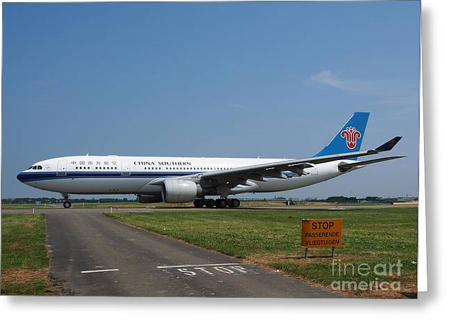 Klm Greeting Cards - China Southern Airlines Airbus A330 Greeting Card by Paul Fearn