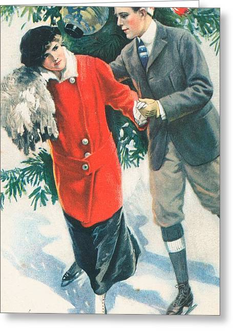 Cards Vintage Paintings Greeting Cards - Christmas card Greeting Card by American School