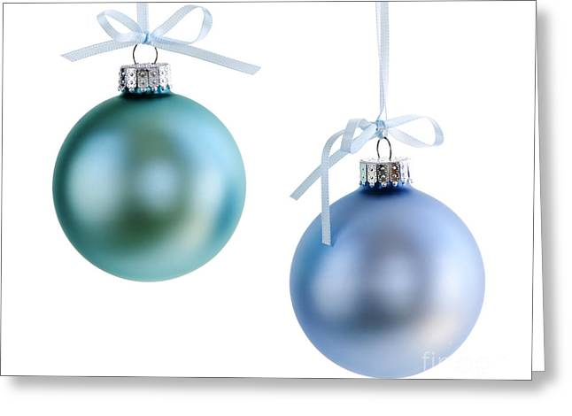 Green Glass Greeting Cards - Christmas ornaments Greeting Card by Elena Elisseeva