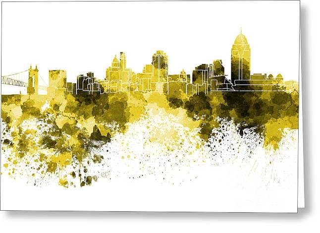 Cincinnati Skyline In Watercolor On White Background Greeting Card by Pablo Romero