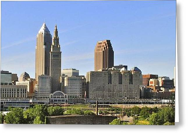 Lengthy Greeting Cards - Cleveland Skyline Greeting Card by Frozen in Time Fine Art Photography