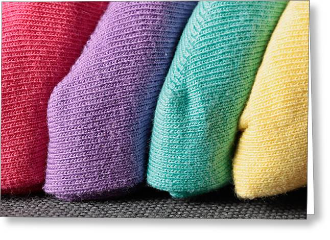 Colorful Fabrics Greeting Card by Tom Gowanlock