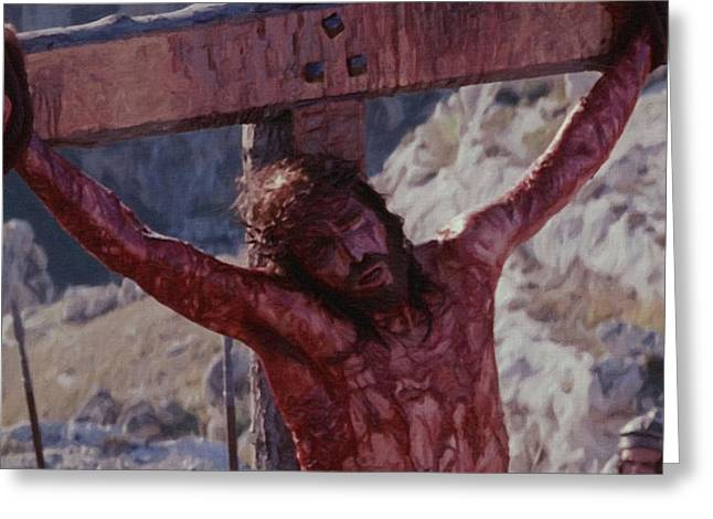 Religious Art Paintings Greeting Cards - Crucifixion Greeting Card by Victor Gladkiy