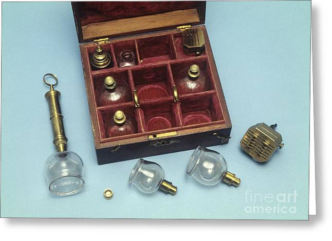 Tincture Greeting Cards - Cupping Set, 19th Century Greeting Card by Science Photo Library