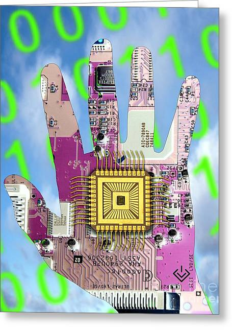 Component Photographs Greeting Cards - Cybernetics And Robotics Greeting Card by Victor de Schwanberg