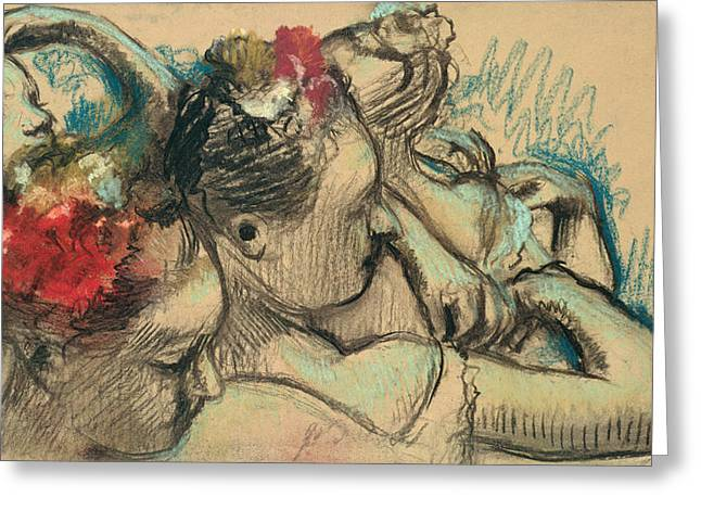 Sketch Greeting Cards - Dancers Greeting Card by Edgar Degas