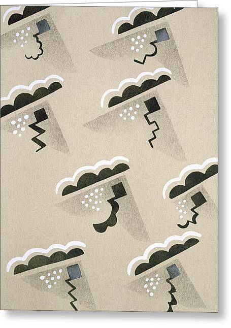 Grey Clouds Greeting Cards - Design from Nouvelles Compositions Decoratives Greeting Card by Serge Gladky