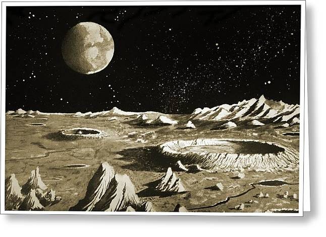 Earthrise Over The Moon Greeting Card by Detlev Van Ravenswaay