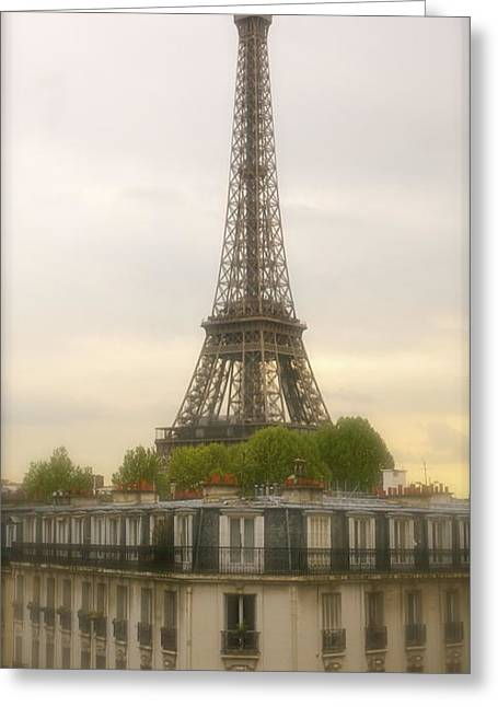 Europe Mixed Media Greeting Cards - Eiffel Tower Greeting Card by Louise Fahy