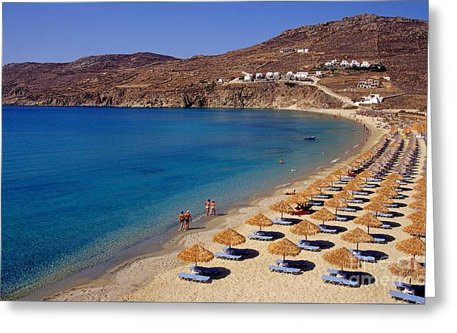 Cyclades Greeting Cards - Elia beach Greeting Card by George Atsametakis