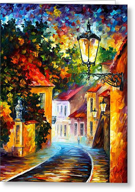 Owner Greeting Cards - Evening Greeting Card by Leonid Afremov