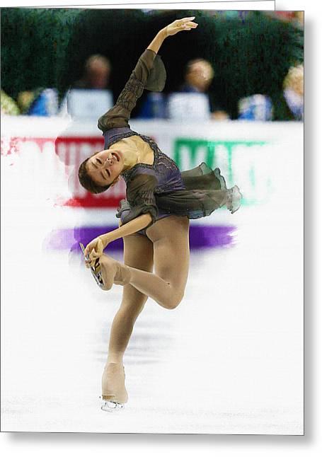 Ice-skating Greeting Cards - Kim Yu-na of South Korea performs Greeting Card by Don Kuing