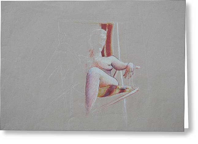 Lawn Chair Greeting Cards - Figure Study Greeting Card by Rachel Christine Nowicki