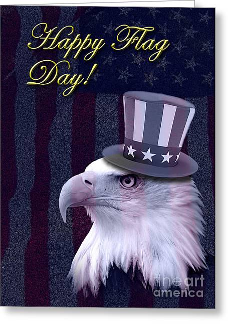 Wildlife Celebration Greeting Cards - Flag Day Eagle Greeting Card by Jeanette K