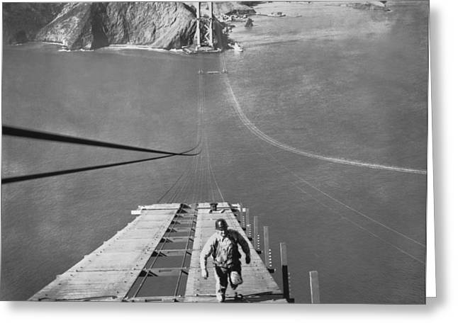 Golden Gate Bridge Work Greeting Card by Underwood Archives