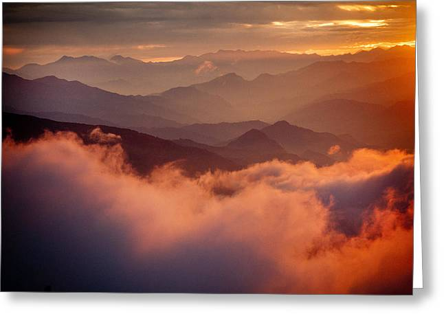 Spirituality Greeting Cards - Golden Sunset Himalayas Mountain Nepal Greeting Card by Raimond Klavins